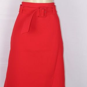 HALOGEN RED A LINE FAUX WRAP SKIRT SIZE 16